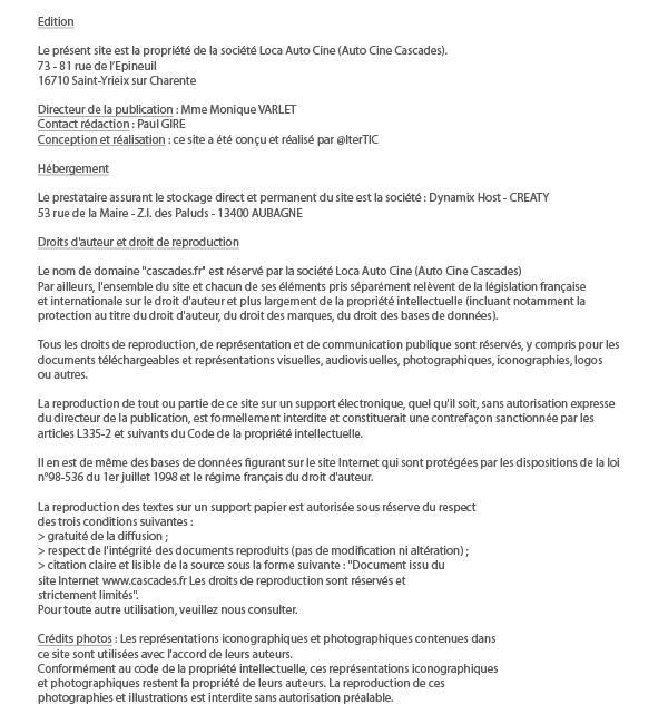Mentions légales du site www.cascades.fr